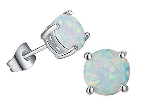 (18K White Gold Plated opal earrings 7MM Round Birthstone Stud Earrings for Women Girls)