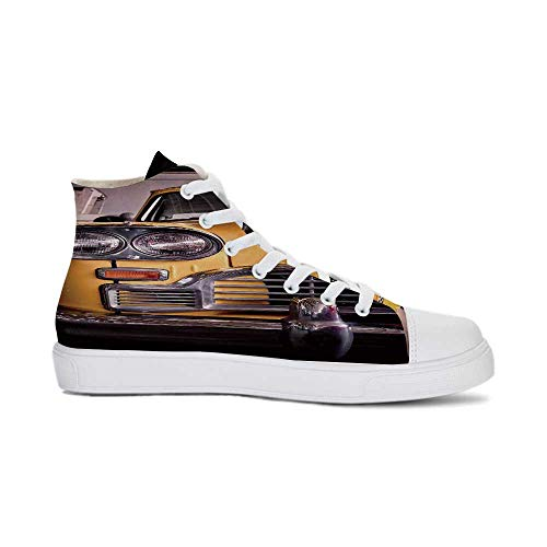 NYC Decor Durable High Top Canvas Shoes,Picture of Antique Yellow Taxi Historical Element of Old NYC Nostalgia Vintage Cab Theme for Men,US 11