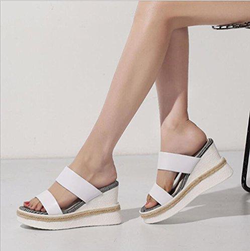 Scarpe Pantofola Stile Shoe Pendenza Sandali Pelle Dimensioni 39 Unica Paglia store Taglia Romano in Colore Casual Spesso Fondo Bianca vPztYpP