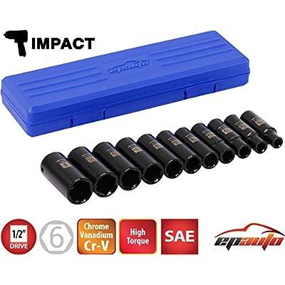 EPAuto 1/2-Inch Drive SAE Deep Impact Socket Set, Cr-V, 6 Points, 11 Sockets
