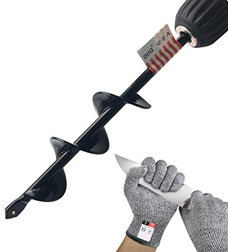 """Auger Spiral Drill Bit, Garden Plant Flower Bulbs Auger 1.6"""" x 9"""" Rapid Planter with Garden Gloves, Post or Umbrella Hole Digger for 3/8"""" Hex Drive Drill (1.6"""