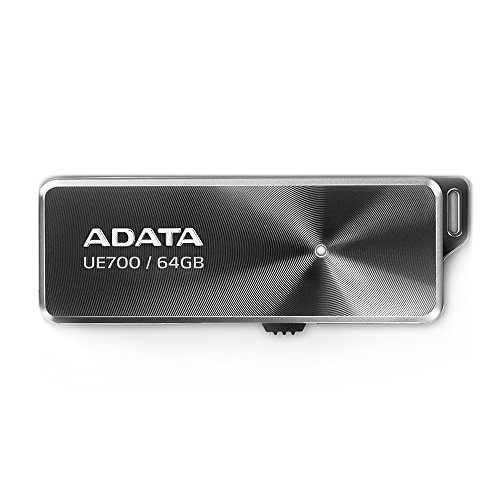- ADATA UE700 64GB USB 3.0 iF Awarded Superior High Speed up to 190 MB/s Read & 100 MB/s Write, Retractable, Capless Flash Drive (AUE700-64G-CBK)