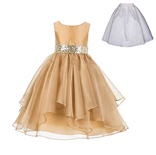 Wedding Ruffles Organza Flower Girl Dress Sequin Toddler Pageant Free Petticoat 012s (Toddler Pageant Dress Flower Girl)