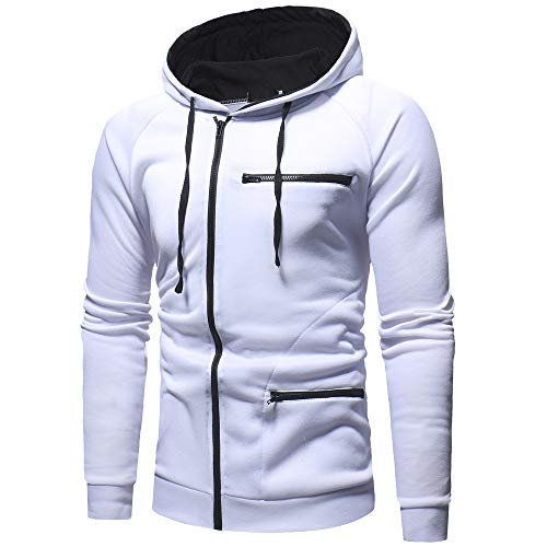 Morchan Blanc Sweat Casual Capuche À Hommes Automne Outwear Longues Manches Top Solide gg1rwPq