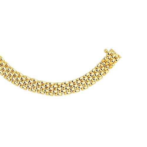 14K Yellow Gold 6.5mm Shiny 5-Row Panther Chain Link Necklace 17