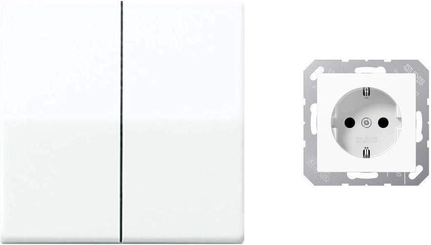 Jung AS591-5WW Wippe f/ür Serienschalter /& A 1520 WW Schuko/Steckdose 16/A/250/V Serie A alpinwei/ß