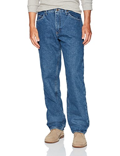 Wrangler Authentics Men's Authentics Fleece Lined 5 Pocket Pant, Stonewash, - Pants Insulated Denim