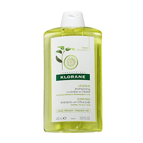Klorane Clarifying Shampoo with Citrus Pulp, Detoxifies Hair & Scalp, Removes Buildup, Neutralizes Hard Water, Paraben, SLS Free, 13.5 oz.