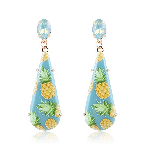 YAZILIND Water-drop Pineapple Rhinestone Drop Dangle Hook Pierced Earrings Party Jewelry(Blue) (Earrings Yazilind Cuff)