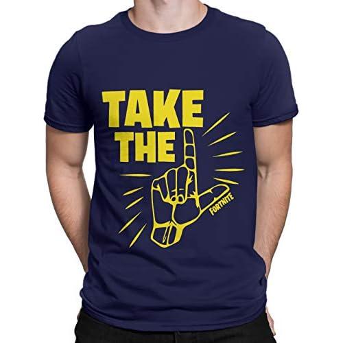 """41fjaDaVOFL. SS500 Camiseta para hombres de Fortnite. Este es un asombroso top azul marino que viene con el épico baile """"Take the L"""" en contrastante amarillo. 100% Algodón"""