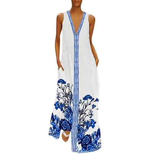 Dressin Women Floral Dress Bohe Long Dress Sleeveless V Neck Dresses Sundress with Pocket Blue ()