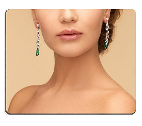 Price comparison product image Liili Mouse Pad Natural Rubber Mousepads beauty and jewelry concept beautiful woman in diamond and emerald earrings 29244411