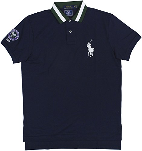 Polo Ralph Lauren Mens Custom-Fit Mesh Polo Shirt Navy M (Polo Pima Mesh Shirt)