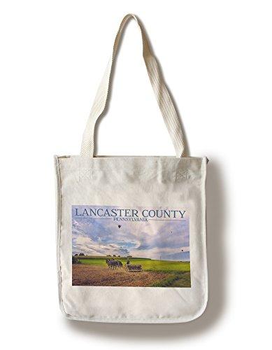 Lancaster County, Pennsylvania - Amish Farmer and Hot Air Balloons (100% Cotton Tote Bag - - Shopping Lancaster Pennsylvania