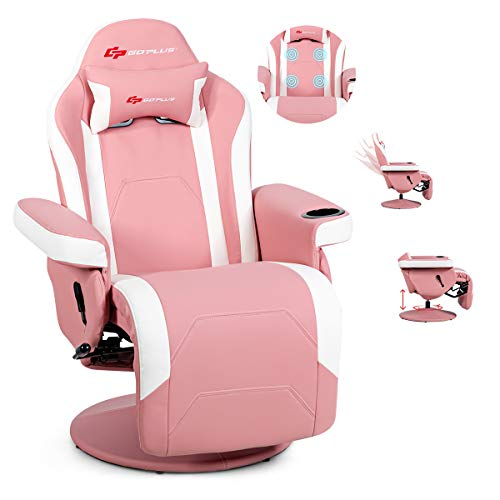 POWERSTONE-Gaming-Chair-Recliner-Massage-Gaming-Chair-PU-Leather-Ergonomic-Sofa-with-Headrest-and-Cup-Holder-and-Side-Pouch-Living-Room-Recliners-Home-Theater-Seating-Pink