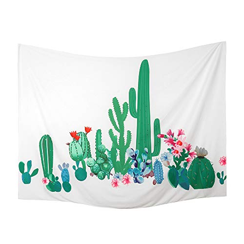 (Hershine Watercolor Cactus Tapestry Wall Hanging Dorm Bedroom, Nature Plant Cacti Flower Succulent Tapestries, Large Landscape Tropical Decoration Art, Green Yellow Aloe Backdrop, Size 59.1ʺ × 76.7