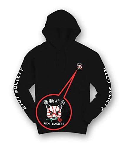 Riot Society Kabuki Panda Rose Embroidered Mens Hoodie - Black, X-Large