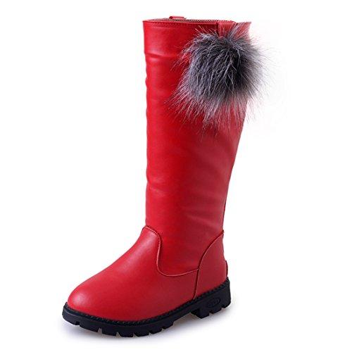 O&N Children Kids Girls Fur Lined Zipper Flat Boots Winter Shoes
