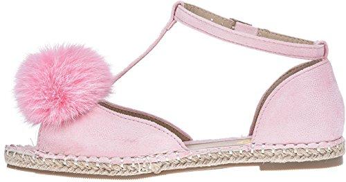 Womens ladies peep toe T-bar espardrilles pumps summer flat pom sandals shoes 3-8 Pink u5HaFS2XQ