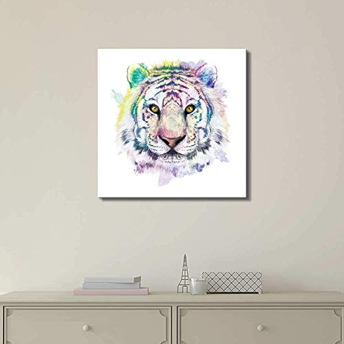 Colorful Zoo Animal - wall26 Fun and Colorful Splattered Watercolor Tiger - Canvas Art Home Decor - 24x24 inches