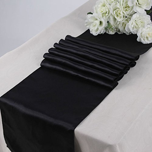 V'Decor Pack Of 5 Wedding 12 x 108 inch Satin Table Runner Wedding Banquet Decoration -Black (5 Runners Table)