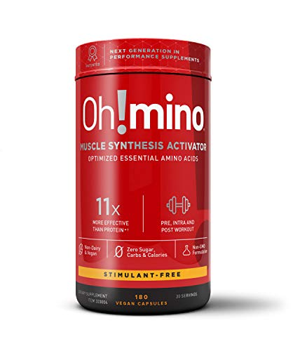 Oh!mino Amino Acids Supplement Capsules Pre and Post-Workout Muscle Synthesis Activator with Electrolytes | Stimulant Free, Vegan Friendly