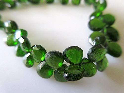 Super Quality Gemstone Beautiful Jewelry Green Chrome Tourmaline Faceted Heart Briolette Beads, Chrome Dravite Green Tourmaline Beads, 4mm To 8mm, 8 Inch Strand Code-JP-3635   B07KNRYWYN