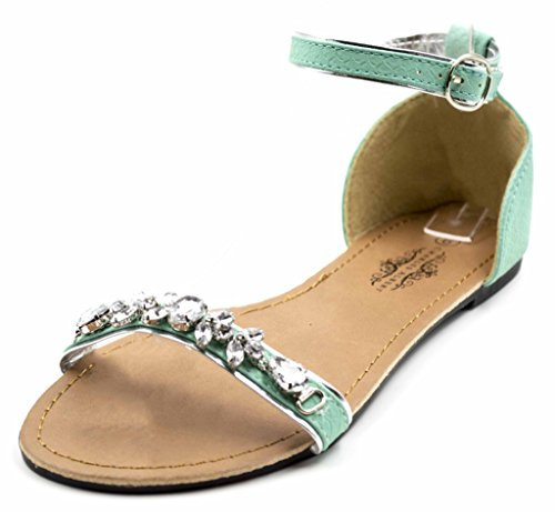 Charles Albert Women's Chic Gem Embellished Sandal With Adjutable Ankle Strap In Turquoise Size: - Philip London Lim