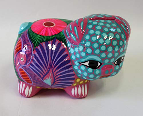 Large Piggy Bank Alebrije Style, Ceramic, Hand Painted, Mexican