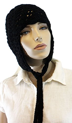 Fashion Dimensions Black Knitted Cotton Pom Pom Dangle Trapper Hat