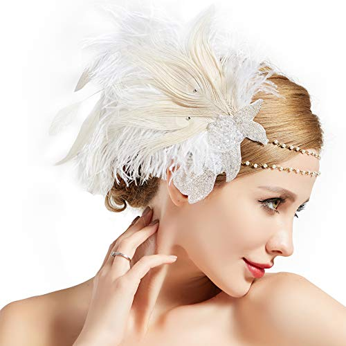 BABEYOND Art Deco 1920s Flapper Headpiece Roaring 20s Great Gatsby Feather Headband 1920s Flapper Gatsby Accessories (Off-White) -