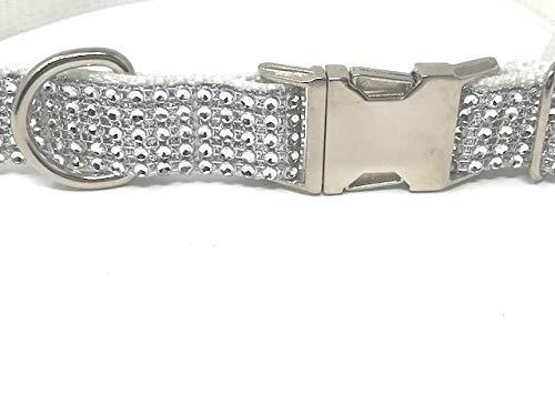 Big Pup Pet Fashion White Glitter + Rhinestone Dog Collar, Wedding Dog Collar, Large (Glam Collar)