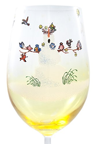 Hand Painted Snowfolks Wine Glass Design, Snowman Poses as Winter Wonderland Sanctuary For an Array of Colorful Birds, 20 Ounce, Golden Amber Glass, Large Wine Glass, Custom Wine Glass, Decorated with Snowflakes