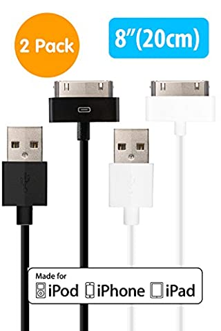[Apple MFi Certified] HomeSpot Sync & Charge 30 pin to USB Cable Value Pack 8 (20cm) Short Charging Cable for for iPhone 4, iPhone 4S, iPad 1/2/3, iPod touch, iPod nano 2 Pack Assorted (Iphone 4s Charge Cable Short)