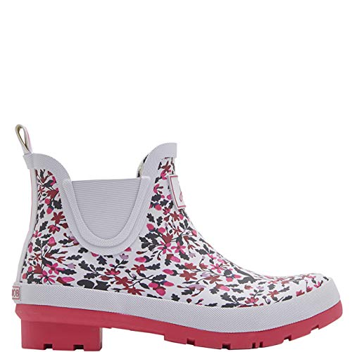 Joules Womens Wellibobs Winter Waterproof Ankle Rain Boots Wellingtons - Silver Woodland Squirrel Ditsy - 5