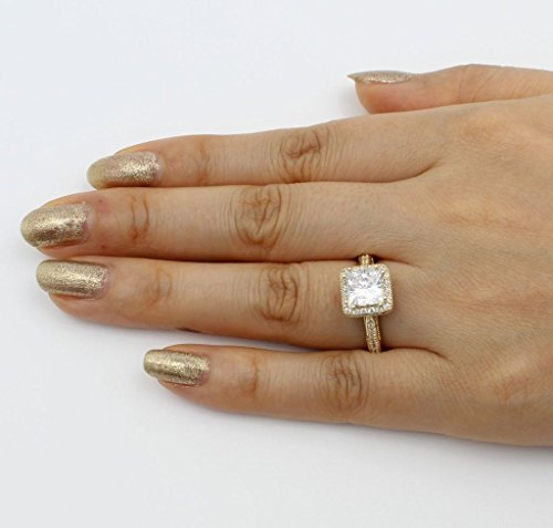 14K Solid Yellow Gold Cubic Zirconia Princess Cut Halo Wedding Engagement Ring with Side Stones, Size 7 by Paradise Jewelers (Image #5)
