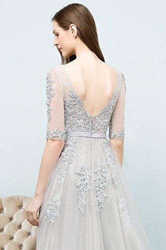 Abendkleid Maxilang Rückenfrei Gr Damen Brautjungfernkleid Tüll 46 32 Blau Navy Elegant Applique Ballkleid Spitze 0ww8Eq16