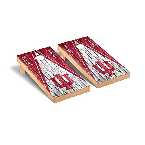 Victory Tailgate Regulation Collegiate NCAA Weathered Triangle Series Cornhole Board Set - 2 Boards, 8 Bags - Indiana Hoosiers ()