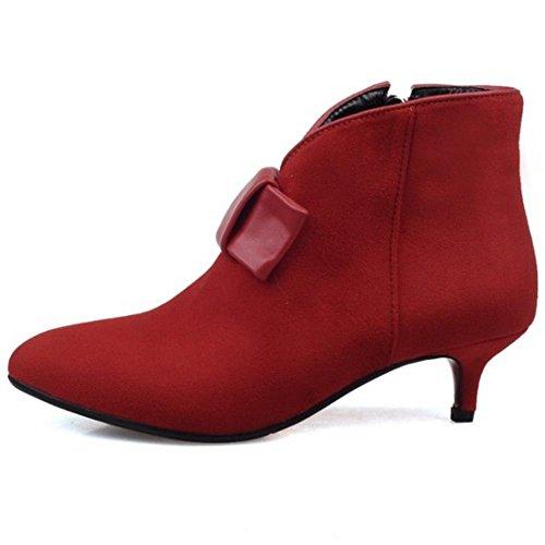 Heels Pumps Schleife Damen Schuhe Bootie COOLCEPT Kitten Rot mit qP641nEx