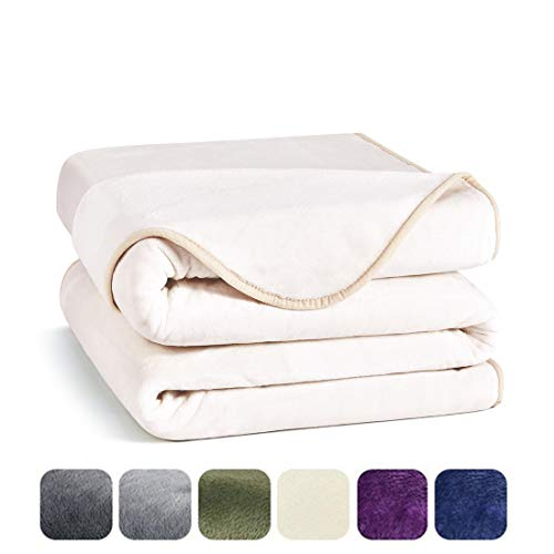 Charm Heart Luxury Fleece Blanket,Twin Size Lightweight Silky Super Soft Summer Cooling Cozy Flannel Warm Plush All-Season Anti-static Bed Couch Sofa Blanket(Twin,Ivory)