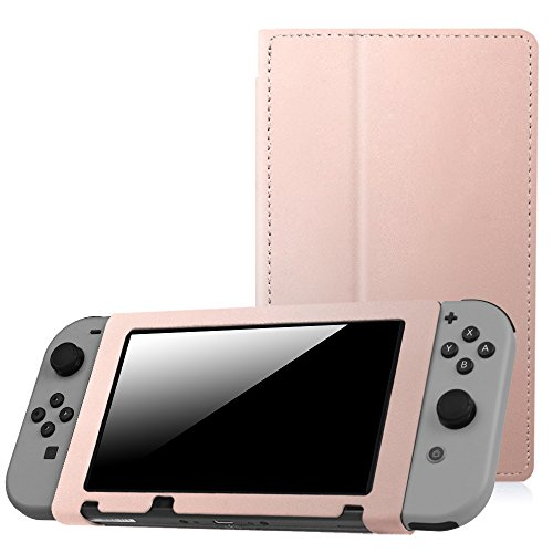 Fintie Protective Case for Nintendo Switch - Premium PU Leather Slim Fit Play Stand Cover for Nintendo Switch 2017, Rose Gold