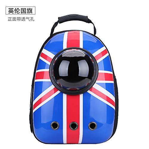 British flag CSDACat Bag Spacecraft Pet Bag Out Dog Backpack Cat Bag,Yellow reflective strip