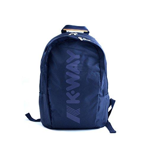 Zaino unisex K-Way in tessuto blu con due ampi scomparti. Spallacci imbottiti e regolabili e chiusura con cerniera.