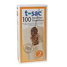 HIC Harold Import T-Sac Tea Filter Bags, Disposable Tea Infuser, Number 2-Size, 2 to 4-Cup Capacity, Set of 400