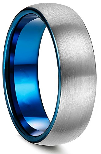 King Will DUO 8mm Blue Domed titanium Carbide Wedding Band Ring Brushed Polish Finished Comfort Fit
