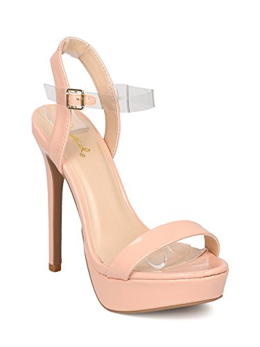 Women Patent Leatherette Open Toe Platform Lucite Ankle Strap Stiletto Sandal GE09 - Blush (Size: 7.5)