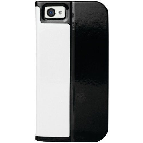 Macally SLIMCOVER5W Folio Case with Stand for iPhone 5 - Black/White
