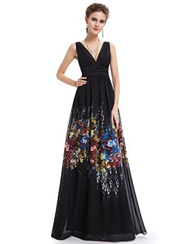 Ausschnitt ärmelloses Damen 08724 V Langes Ever Pretty Schwarz Partykleid blumengedrucktes 1qtnpXwx