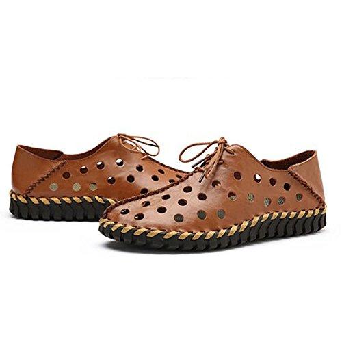 ahuecados a Respirables Verano para de Marrón Zapatos Hechos Zapatos Hombres Mano xFwE8q