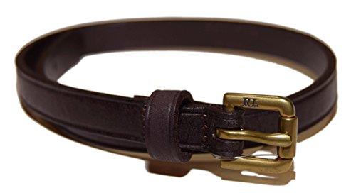 Ralph Bracelets Lauren Mens (RALPH LAUREN Polo Vintage Mens Double Wrap Leather Buckle Bracelet Brown Brass)